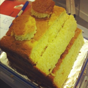 Cake carved so it is like a cube, but with a side cut away in a slope